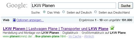 Erfolgreiche Suchmaschinenoptimierung am Beispiel der Webseite und Webshop Lorenz Beplanungen